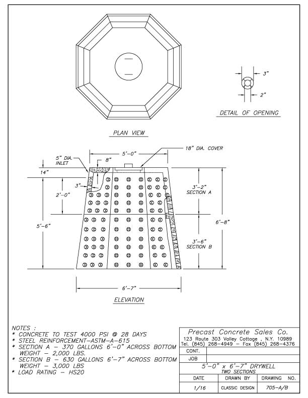 """5'-0"""" x 6'-7"""" Drywell Two Sections"""