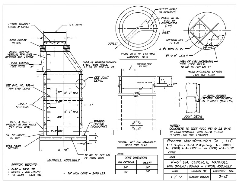 """4'-0"""" Dia. Concrete Manhole With Spread Footing - Typical Assembly"""