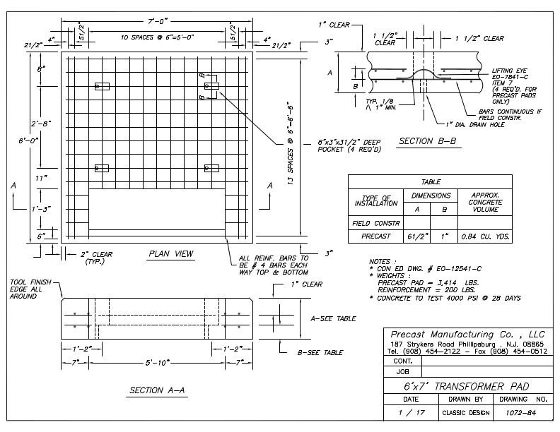 CON ED 6' x 7' Transformer Pad