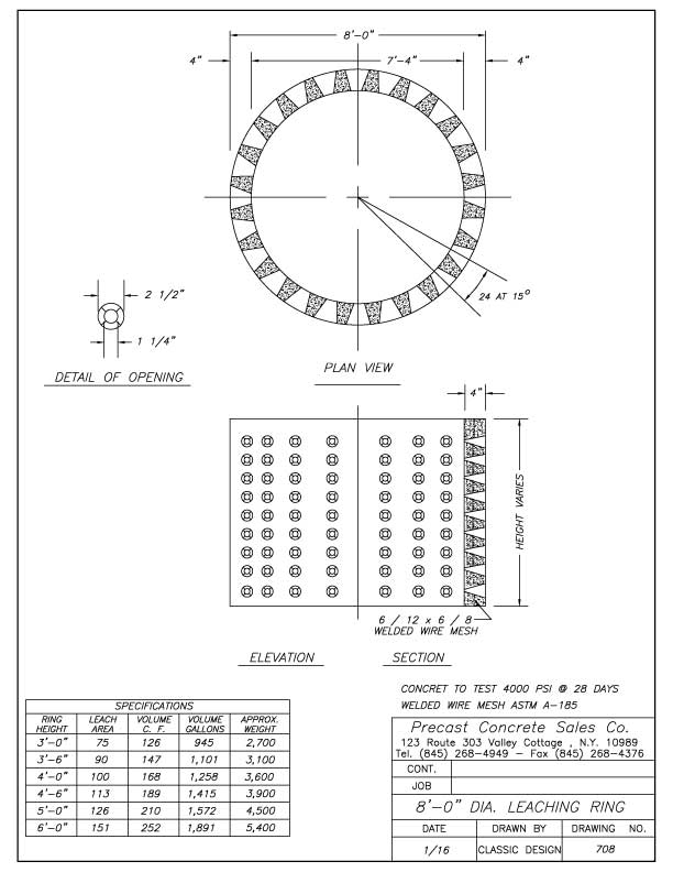 "8'-0"" Dia. Leaching Ring"