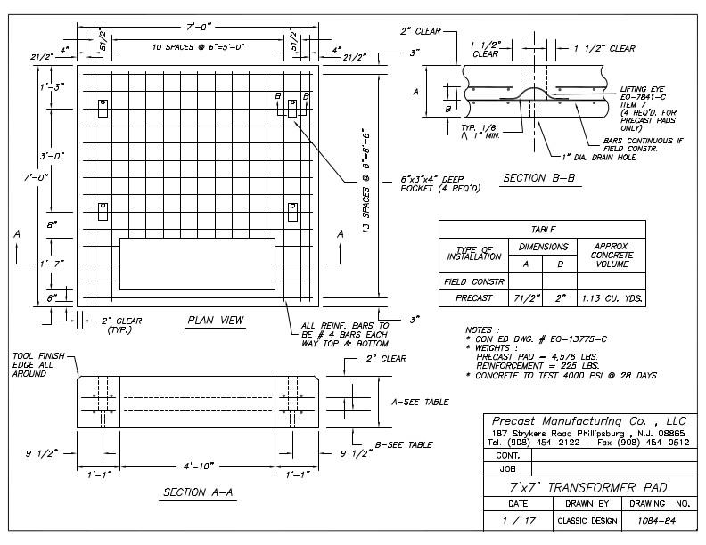 CON ED 7' x 7' Transformer Pad